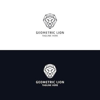 Lion logo design em estilo monoline