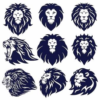 Lion logo set collection vector ilustração design premium