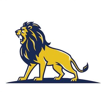 Lion mascot logo roaring design de modelo de vetor