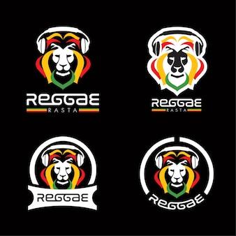 Lion reggae rasta logotipos