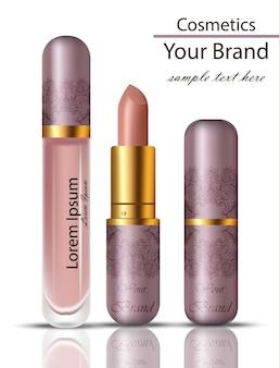 Lipstick cosméticos realista mock up set. matt lipgloss com ornamento de renda design original de embalagem