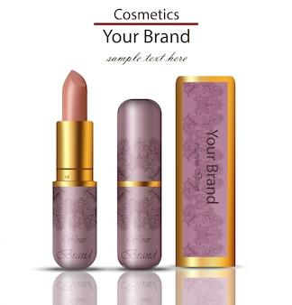Lipstick cosméticos realistas mock up. matt lipgloss com ornamento de renda design original de embalagem