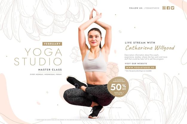 Liquidação de aula de ioga com mulher