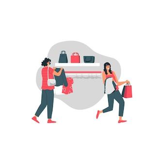 Liquidação de boxing day com ilustração de garota feliz segurar suéter e sacola de compras