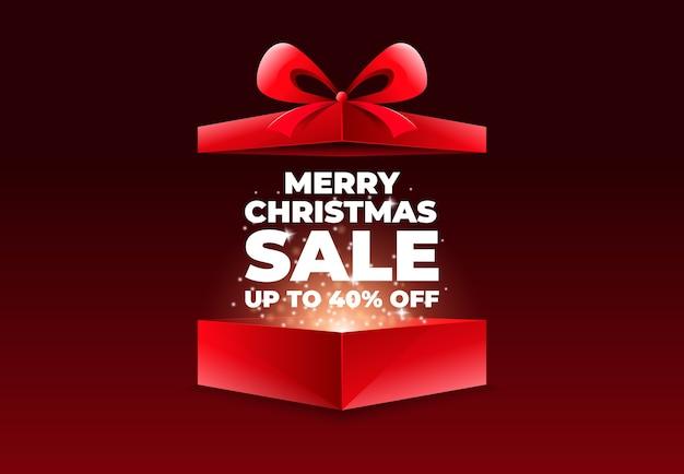 Liquidação de feliz natal com caixa de presente aberta