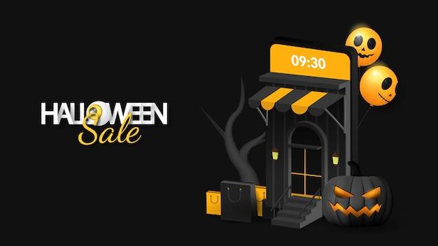 Liquidação de halloween em banner móvel