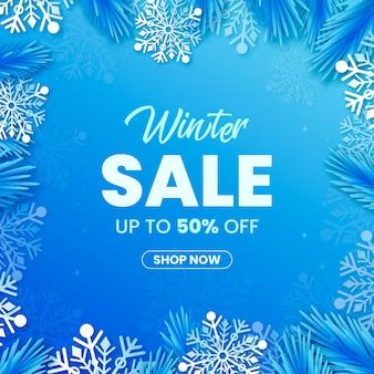 Liquidação de inverno realista com oferta