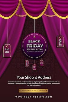 Liquidação de luxo preto sexta-feira rosa todos os preços com desconto até o pôster