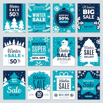 Liquidação de natal. cartões de etiquetas promocionais de inverno anunciando ofertas especiais, vendas de temporada e coleção de cartões de ofertas perfeitas