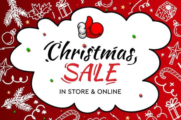 Liquidação de natal, na loja e online. letras modernas manuscritas com elementos decorativos de doodle e papai noel com o polegar para cima Vetor Premium