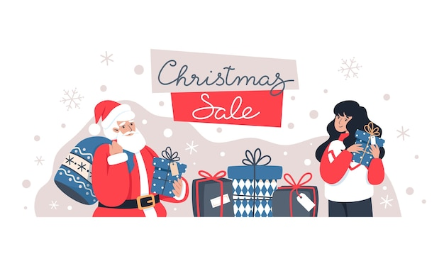 Liquidação de natal, papai noel e mulher segurando presentes, compras online