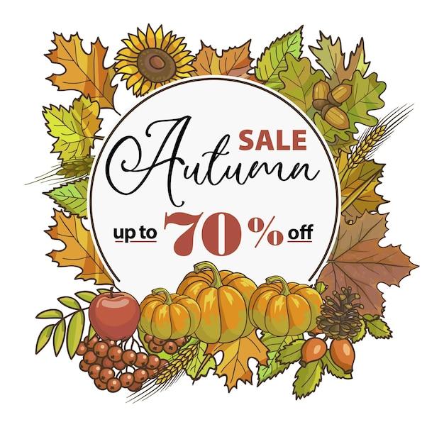 Liquidação de outono com desconto percentual em compras na loja