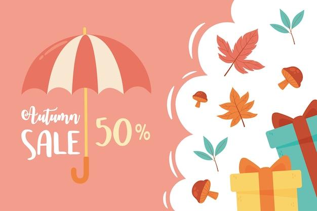 Liquidação de outono, presentes de guarda-chuva com desconto e folhas da estação