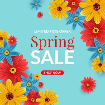 Liquidação de primavera realista com flores vermelhas e amarelas