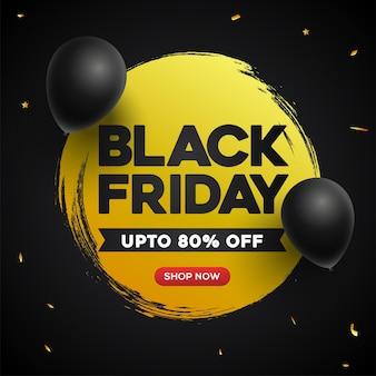 Liquidação de sexta-feira negra com balões pretos brilhantes em fundo amarelo e preto.