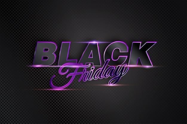 Liquidação de sexta-feira negra com texto vibrante em luz escura moderna para promoção de banner