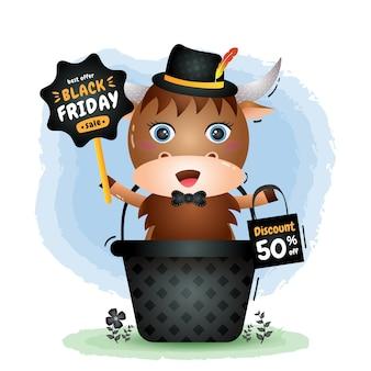 Liquidação de sexta-feira negra com um búfalo fofo na cesta de promoção e ilustração de sacola de compras