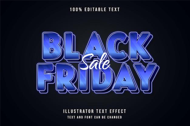 Liquidação de sexta-feira negra, efeito de texto editável gradação azul e roxo neon estilo de texto