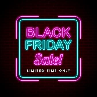 Liquidação de sexta-feira negra em estilo neon