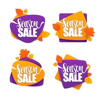 Liquidação de temporada, coleção de etiquetas, banners e adesivos com bolhas de desconto no outono