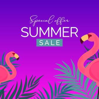 Liquidação de verão abstrata com folhas de palmeira e flamingo