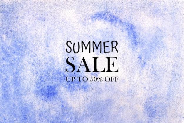 Liquidação de verão aquarela pintada à mão manchas de aquarela no papel