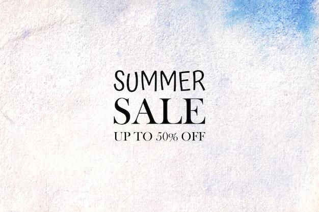 Liquidação de verão aquarela pintada à mão manchas de aquarela no papel Vetor Premium