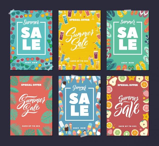 Liquidação de verão. banners de moda colorida conjunto com fundo abstrato e mão escrevendo palavras e letra