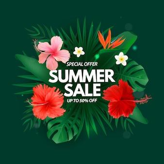 Liquidação de verão com flores exóticas de palmeiras tropicais e folhas de monstera