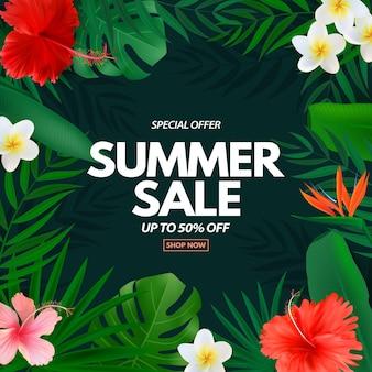 Liquidação de verão com folhas de palmeira tropical, plumeria exótica e flor de hibisco