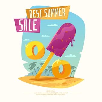 Liquidação de verão em design de desenho animado