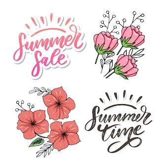 Liquidação de verão. letras feitas de flores e folhas horário de verão