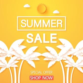 Liquidação de verão, palmeira de coco com texto e sol, estilo de arte em papel