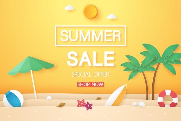 Liquidação de verão, praia com coqueiro e outras coisas, estilo arte em papel