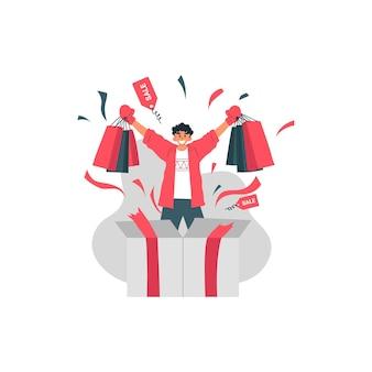 Liquidação do boxing day com um homem feliz segurando a sacola de compras e a ilustração do item da tendência