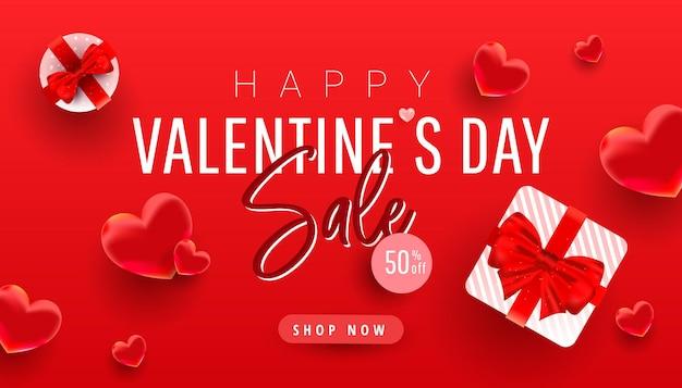 Liquidação do dia dos namorados com formas de amor 3d e decoração de presentes