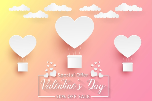 Liquidação do dia dos namorados, fundo de arte em papel colorido com balões em forma de coração