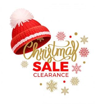 Liquidação nas vendas de natal, chapéu vermelho de malha, pom-pom