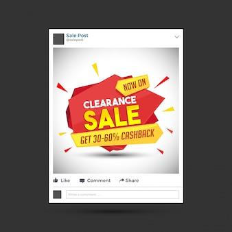 Liquidação venda design de postagem de mídia social.