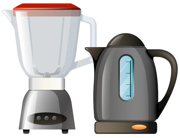 Liquidificador de caldeira e comida no fundo branco