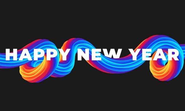 Líquido de pincelada colorida feliz ano novo