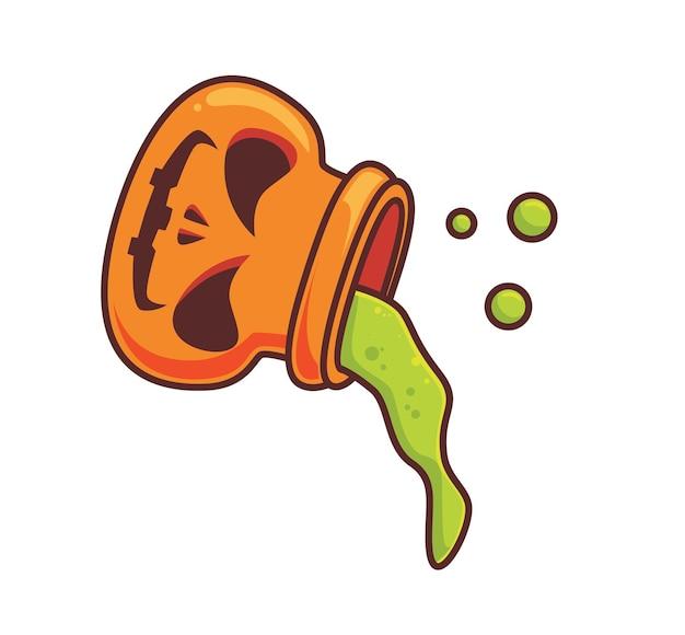 Líquido de poção de abóbora fofa. ilustração isolada de halloween dos desenhos animados. estilo simples adequado para vetor de logotipo premium de design de ícone de etiqueta. personagem mascote
