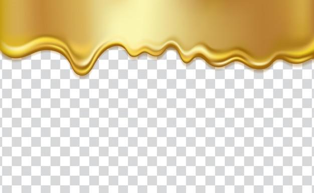 Líquido fluindo dourado, em fundo transparente. gotas de mel, xarope, óleo, tinta ou metal dourado
