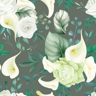 Lírio branco e rosa lindo floral sem costura padrão