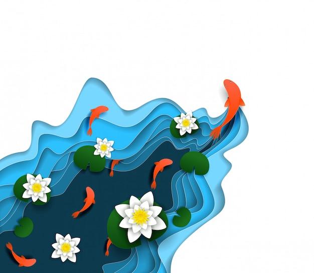 Lírio d'água, carpa koi vetor papel cortado ilustração