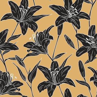 Lírios realistas. padrão uniforme. flores, folhas e galhos. mão-extraídas ilustração vetorial. arte de linha. textura para impressão, tecido, têxtil, papel de parede.