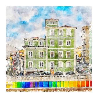 Lisboa portugal esboço em aquarela ilustração desenhada à mão