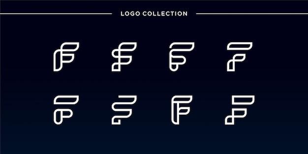 Liso e moderno do conjunto de logotipo da letra f, coleção, exclusivo, novo, moderno, carta, linha artística
