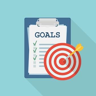Lista com metas, alvo com seta. estratégia de negócios bem-sucedida, planejamento