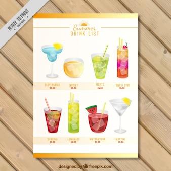 Lista de beber com variedade de cocktails aquarela